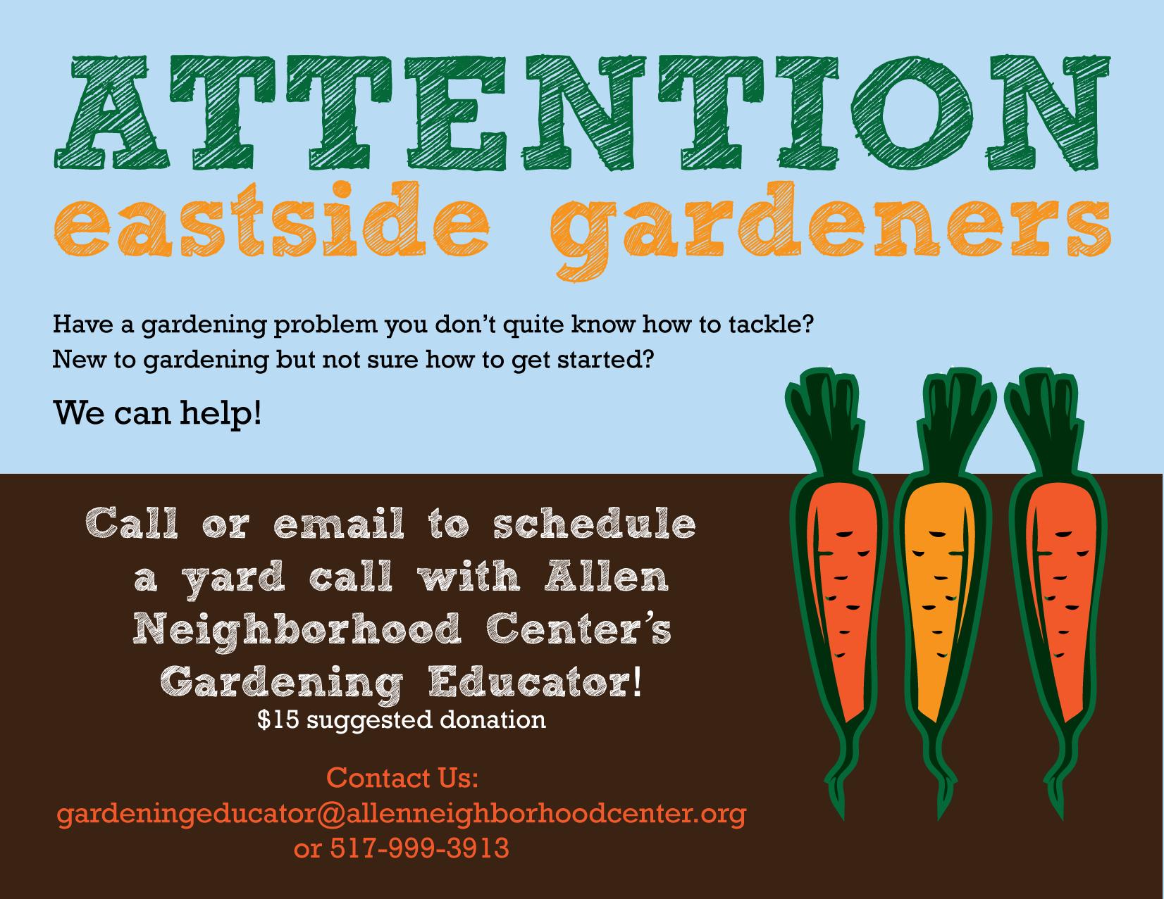 Facebook flyer. Gardening Educator   Allen Neighborhood Center